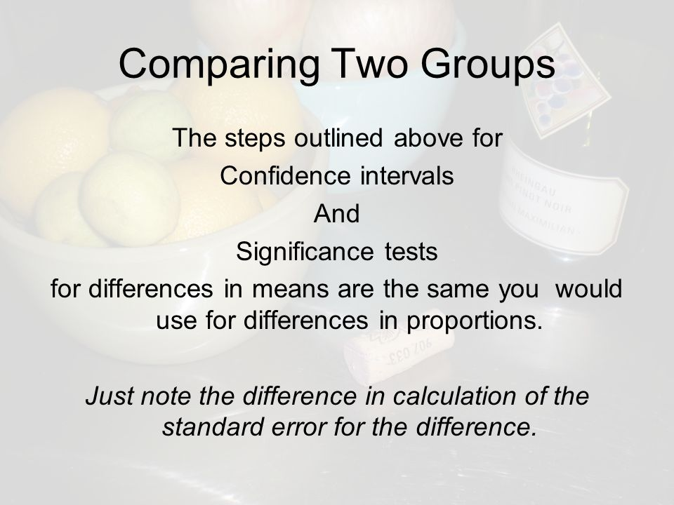 Comparing Two Groups The steps outlined above for Confidence intervals And Significance tests for differences in means are the same you would use for differences in proportions.