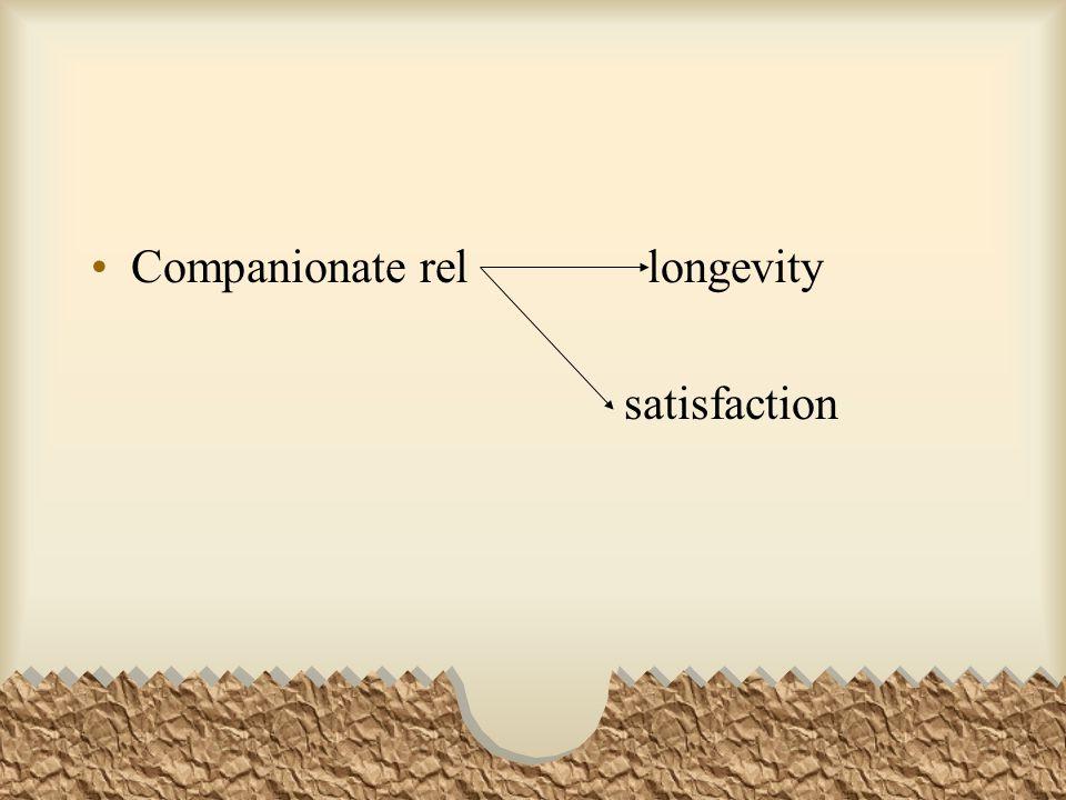 Companionate rel longevity satisfaction