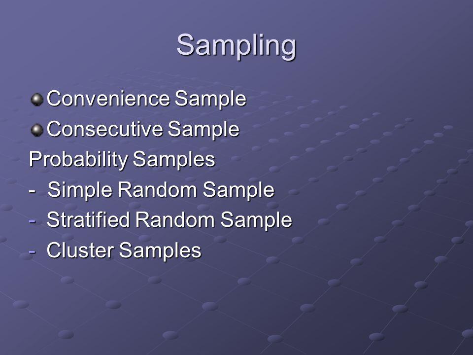 Sampling Convenience Sample Consecutive Sample Probability Samples - Simple Random Sample -Stratified Random Sample -Cluster Samples