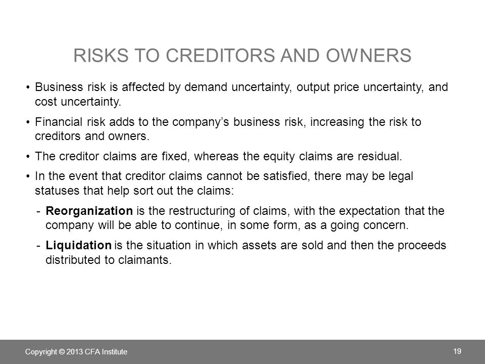 RISKS TO CREDITORS AND OWNERS Copyright © 2013 CFA Institute 19 Business risk is affected by demand uncertainty, output price uncertainty, and cost uncertainty.