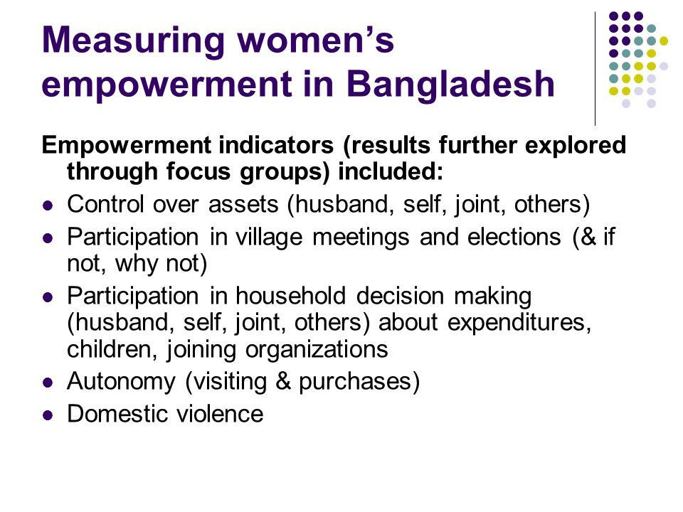Empowerment indicators (results further explored through focus groups) included: Control over assets (husband, self, joint, others) Participation in v
