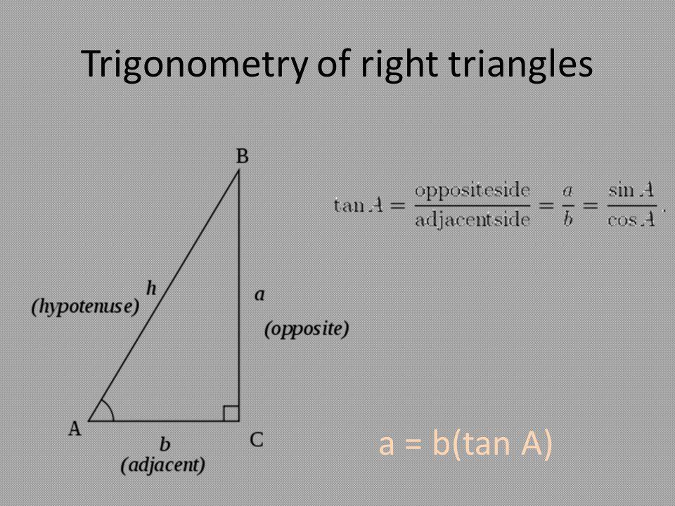 Trigonometry of right triangles a = b(tan A)
