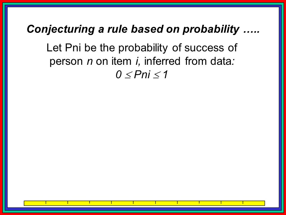 Let Pni be the probability of success of person n on item i, inferred from data: 0  Pni  1 Commensurate with an infinite latent variable: 0  Pni / (1-Pni)   Conjecturing a rule based on probability …..
