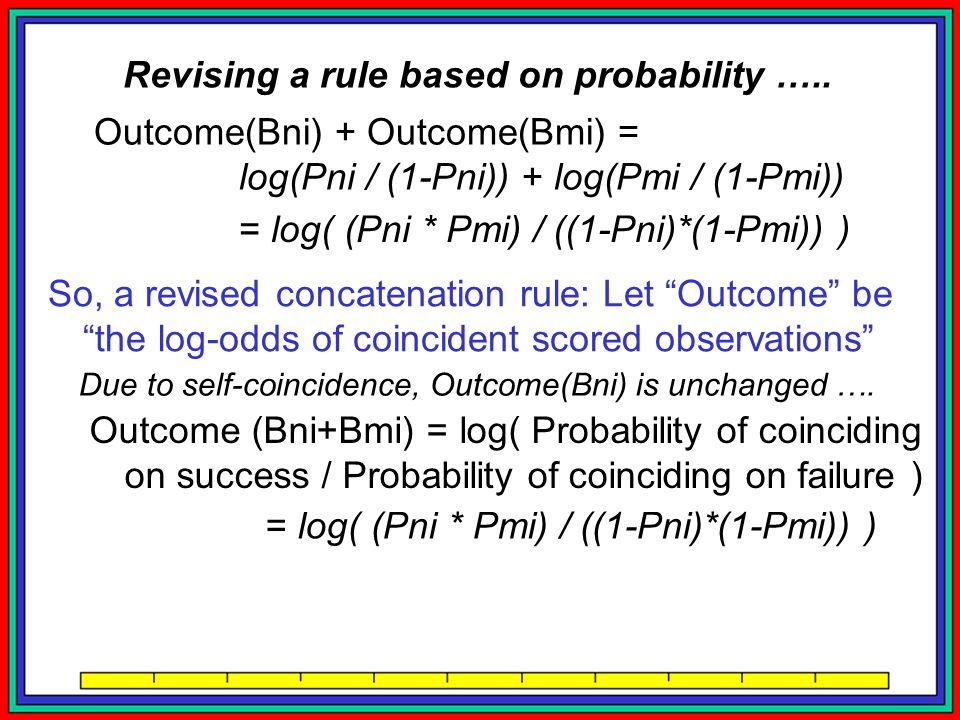Outcome(Bni) + Outcome(Bmi) = log(Pni / (1-Pni)) + log(Pmi / (1-Pmi)) = log( (Pni * Pmi) / ((1-Pni)*(1-Pmi)) ) So, a revised concatenation rule: Let Outcome be the log-odds of coincident scored observations Outcome (Bni+Bmi) = log( Probability of coinciding on success / Probability of coinciding on failure ) = log( (Pni * Pmi) / ((1-Pni)*(1-Pmi)) ) = Outcome(Bni) + Outcome(Bmi) !!.
