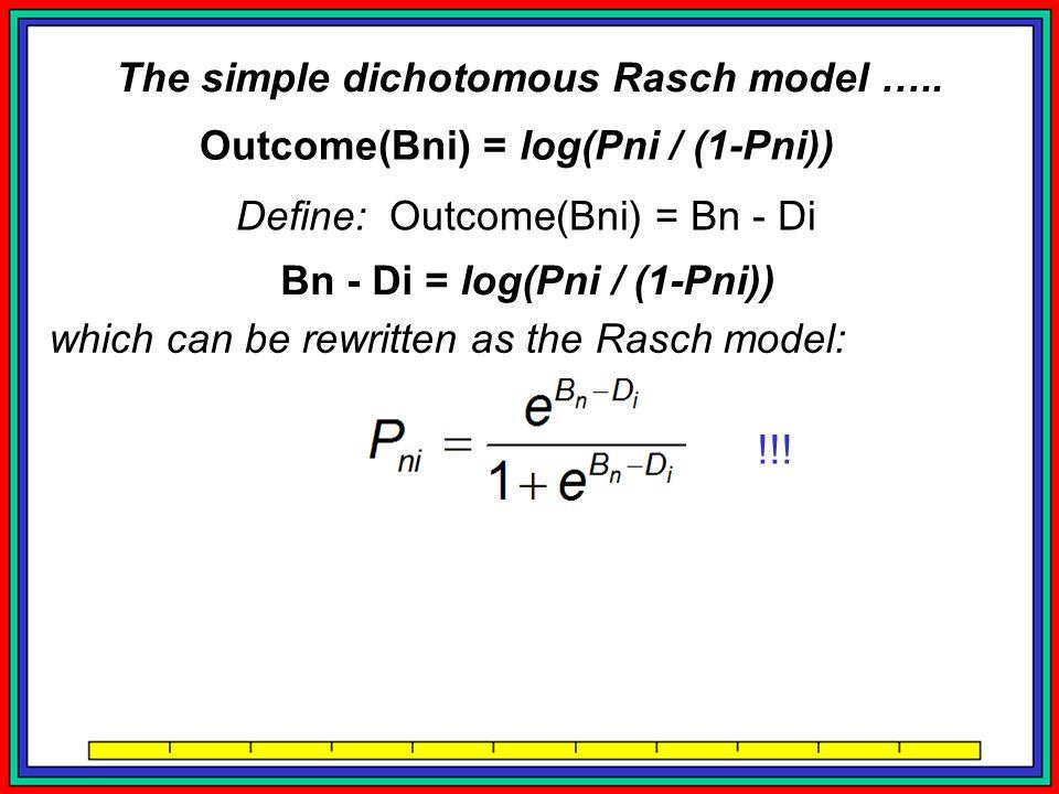 Outcome(Bni) = log(Pni / (1-Pni)) Define: Outcome(Bni) = Bn - Di Bn - Di = log(Pni / (1-Pni)) which can be rewritten as the Rasch model: Finding: the Rasch model is a concatenation rule, a new fact (Rasch, 1953), operationalizing true measurement for education and psychology.