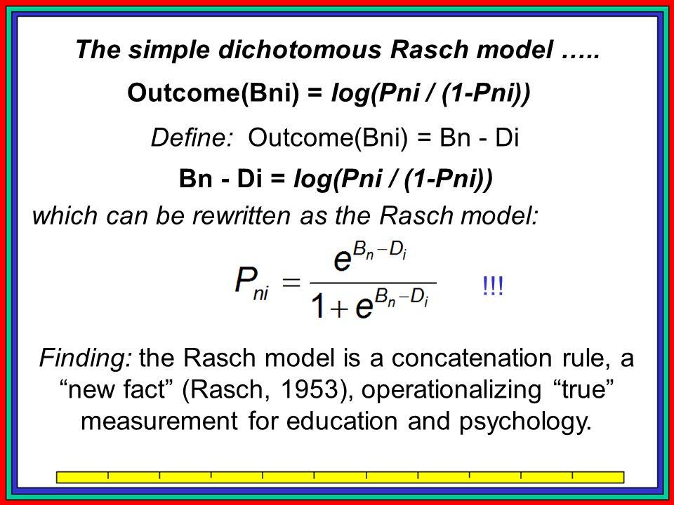 Outcome(Bni) = log(Pni / (1-Pni)) Define: Outcome(Bni) = Bn - Di Bn - Di = log(Pni / (1-Pni)) which can be rewritten as the Rasch model: Finding: the