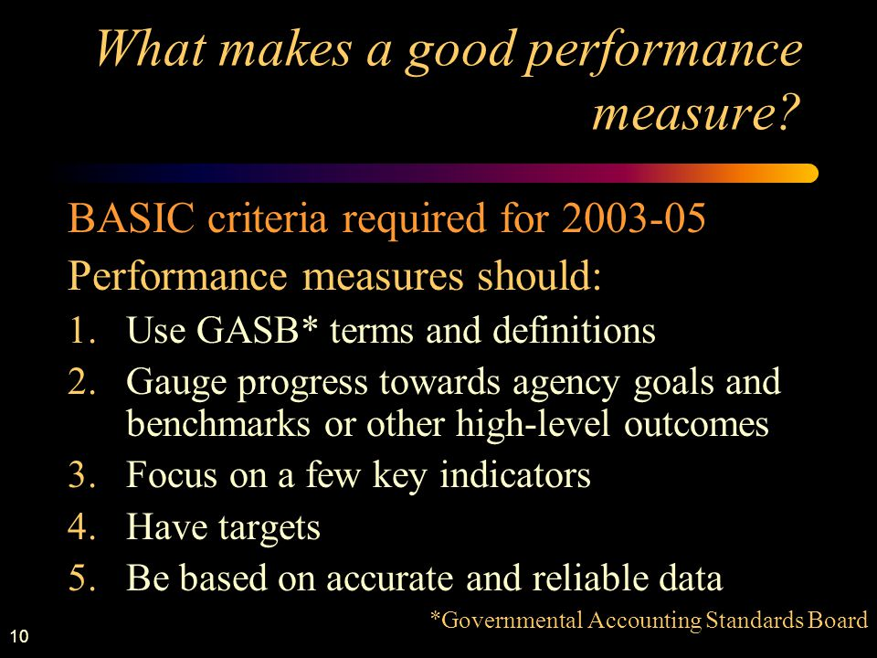 10 What makes a good performance measure.