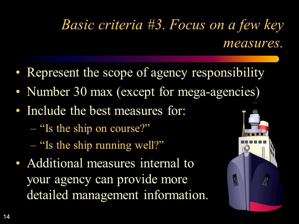 14 Basic criteria #3. Focus on a few key measures.