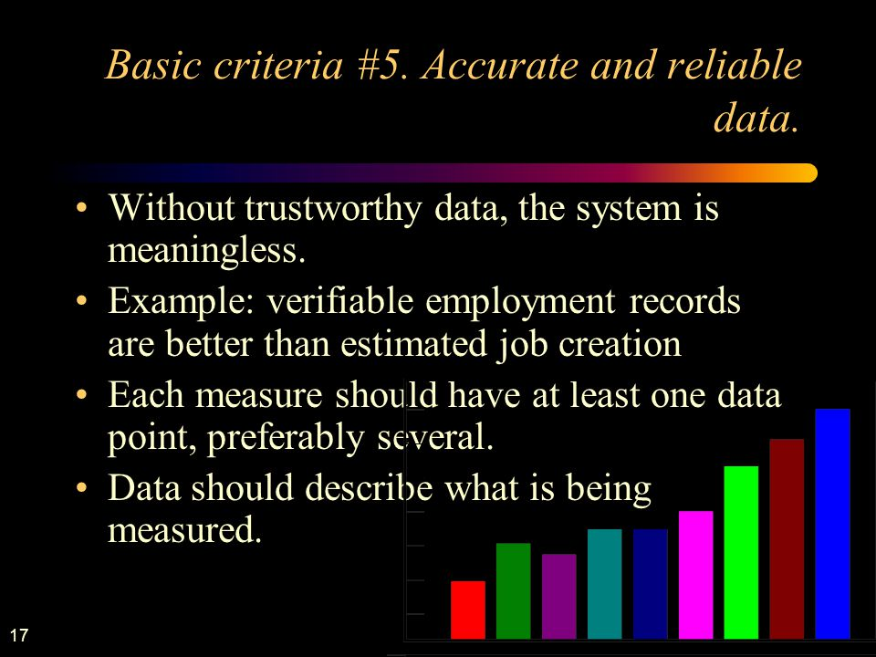 17 Basic criteria #5. Accurate and reliable data.