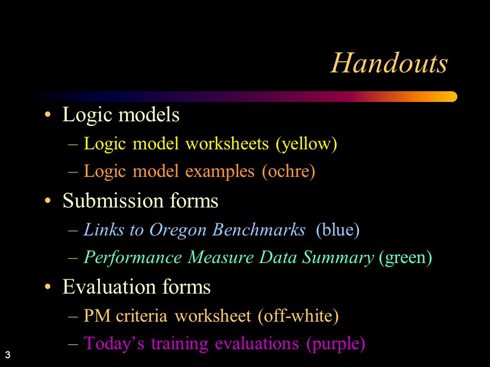 3 Handouts Logic models –Logic model worksheets (yellow) –Logic model examples (ochre) Submission forms –Links to Oregon Benchmarks (blue) –Performanc