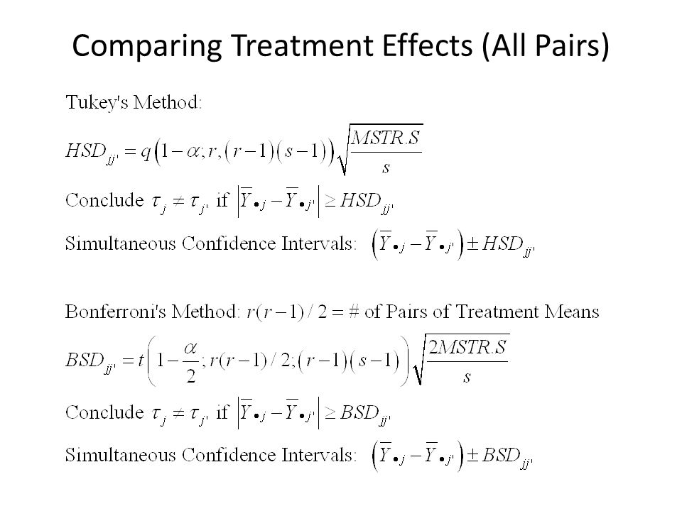 Comparing Treatment Effects (All Pairs)