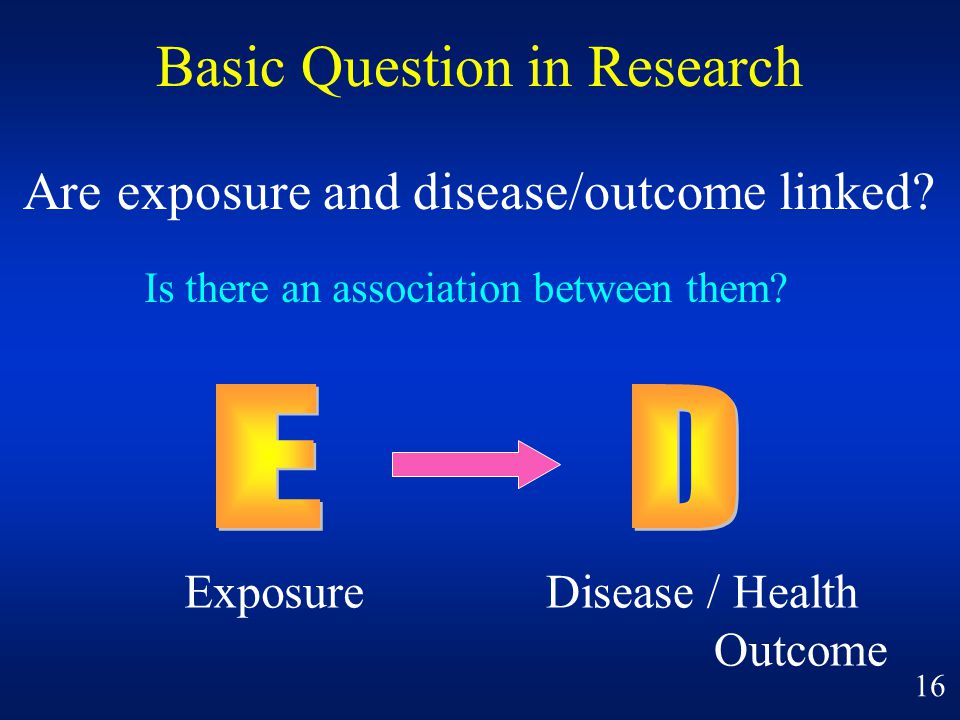 Basic Question in Research Are exposure and disease/outcome linked? ExposureDisease / Health Outcome Is there an association between them? 16