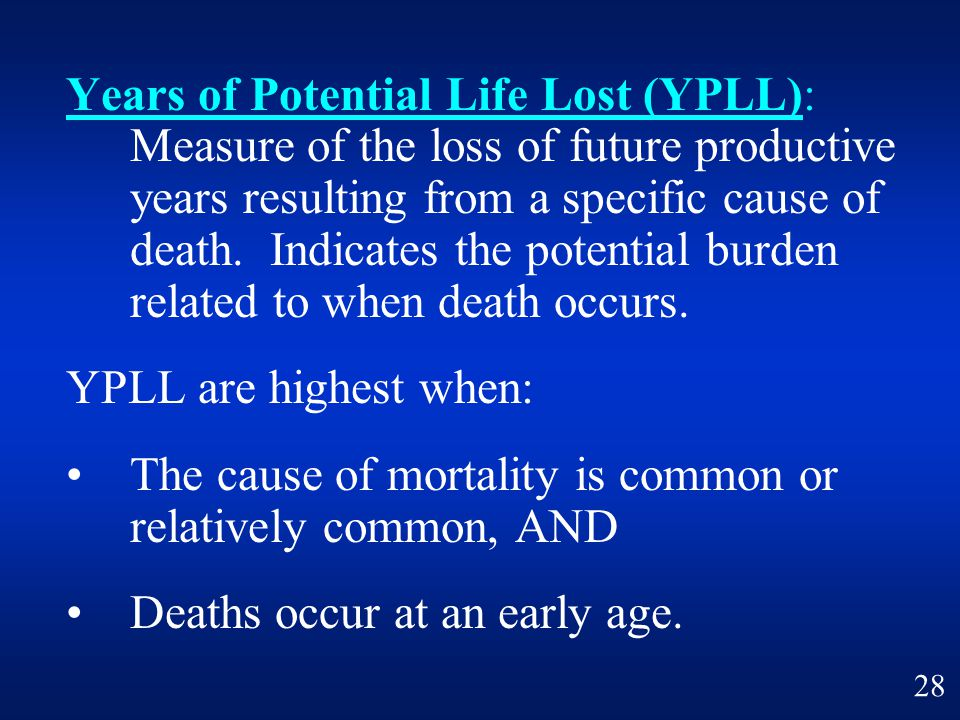 Years of Potential Life Lost (YPLL): Measure of the loss of future productive years resulting from a specific cause of death. Indicates the potential