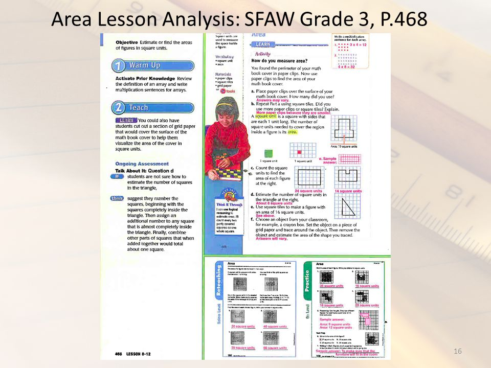 Area Lesson Analysis: SFAW Grade 3, P.468 16STEM 2010 - MCTM Conference What knowledge is required What is in curricula