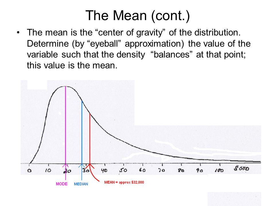 """The Mean (cont.) The mean is the """"center of gravity"""" of the distribution. Determine (by """"eyeball"""" approximation) the value of the variable such that t"""