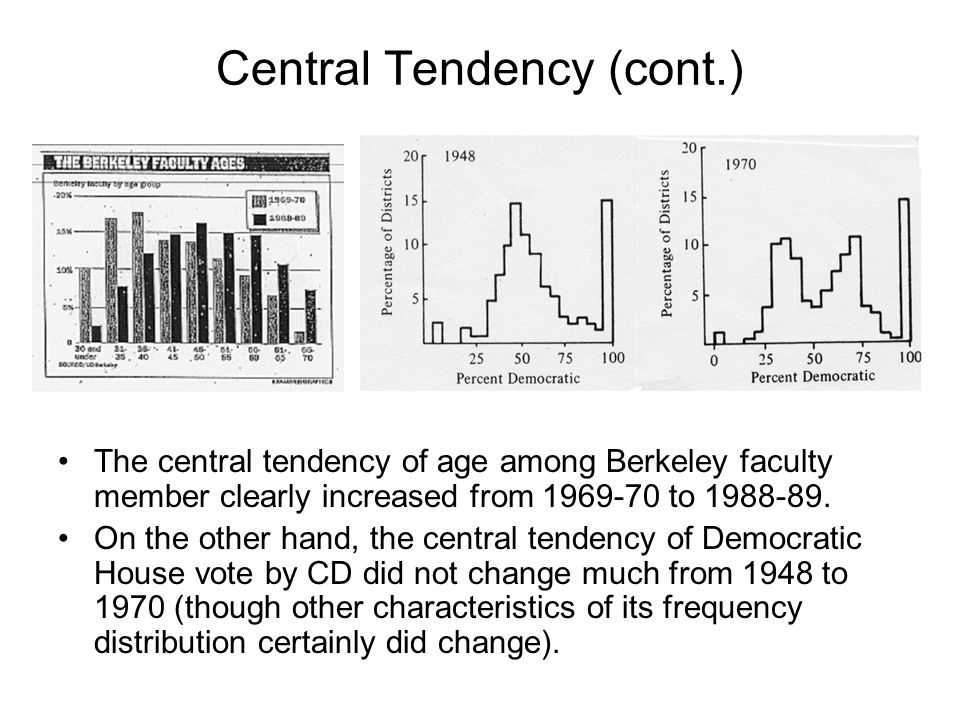 Central Tendency (cont.) The central tendency of age among Berkeley faculty member clearly increased from 1969-70 to 1988-89. On the other hand, the c