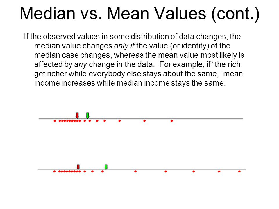 Median vs. Mean Values (cont.) If the observed values in some distribution of data changes, the median value changes only if the value (or identity) o
