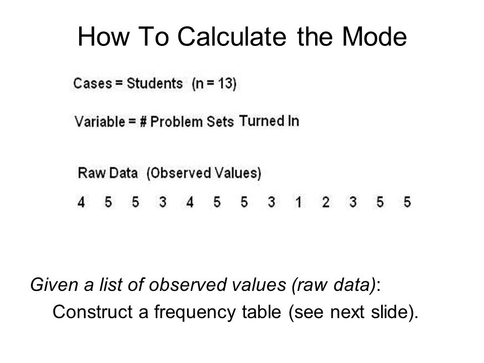 How To Calculate the Mode Given a list of observed values (raw data): Construct a frequency table (see next slide).
