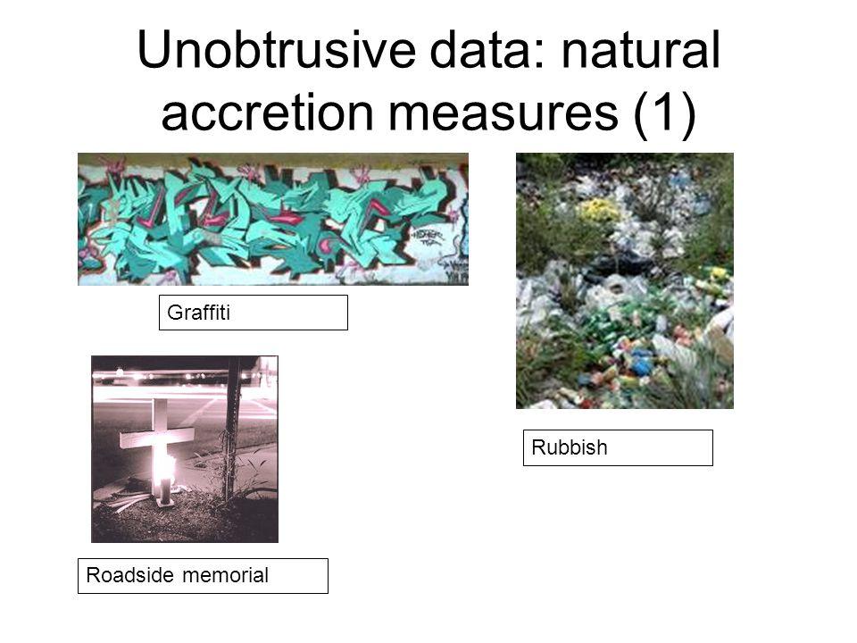 Unobtrusive data: natural accretion measures (1) Graffiti Rubbish Roadside memorial