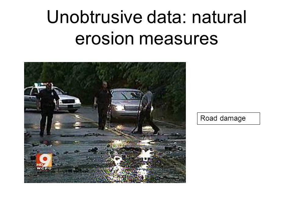 Unobtrusive data: natural erosion measures Road damage