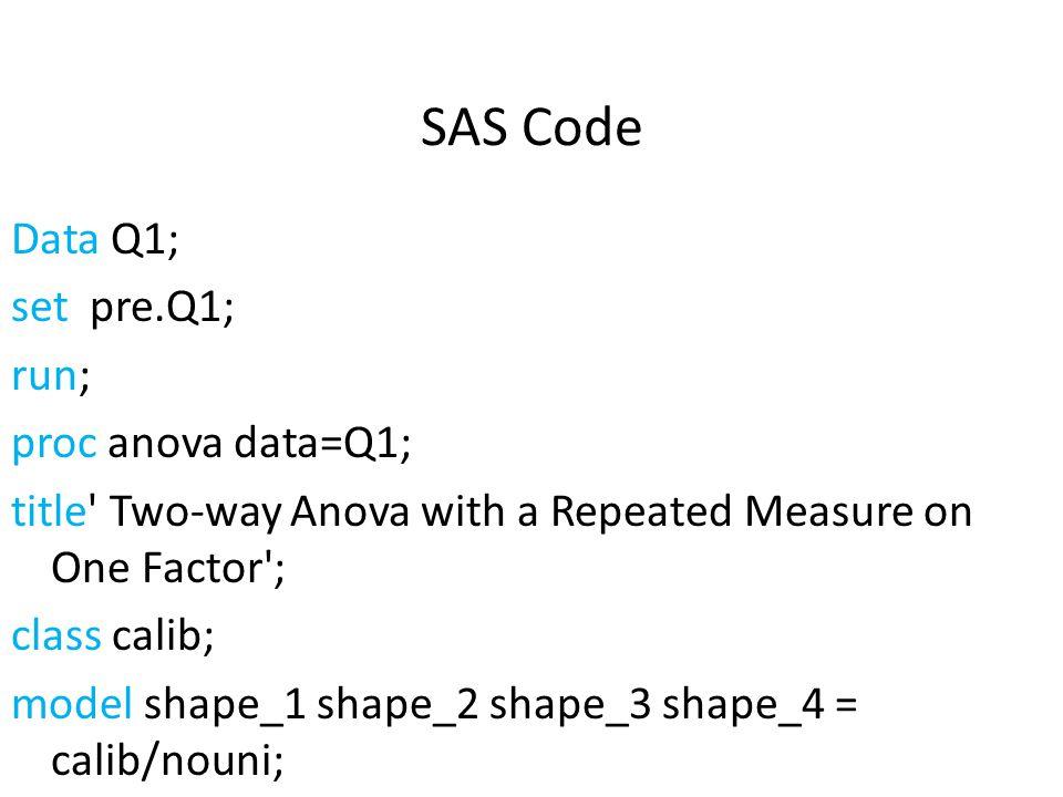 SAS Code Data Q1; set pre.Q1; run; proc anova data=Q1; title' Two-way Anova with a Repeated Measure on One Factor'; class calib; model shape_1 shape_2