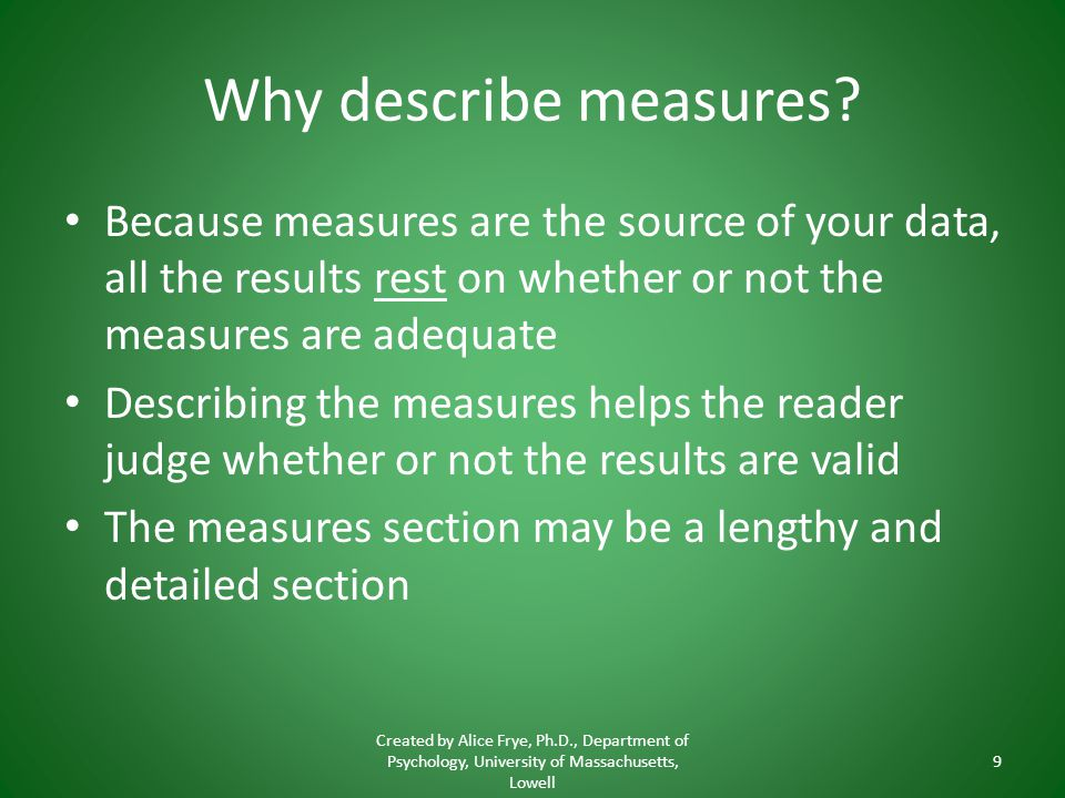 Why describe measures.