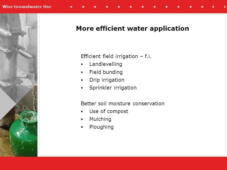 Wise Groundwater Use More efficient water application Efficient field irrigation – f.i.  Landlevelling  Field bunding  Drip irrigation  Sprinkler