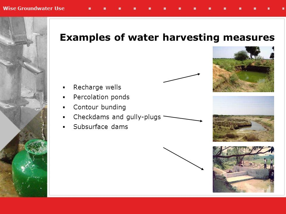 Wise Groundwater Use Examples of water harvesting measures  Recharge wells  Percolation ponds  Contour bunding  Checkdams and gully-plugs  Subsurface dams