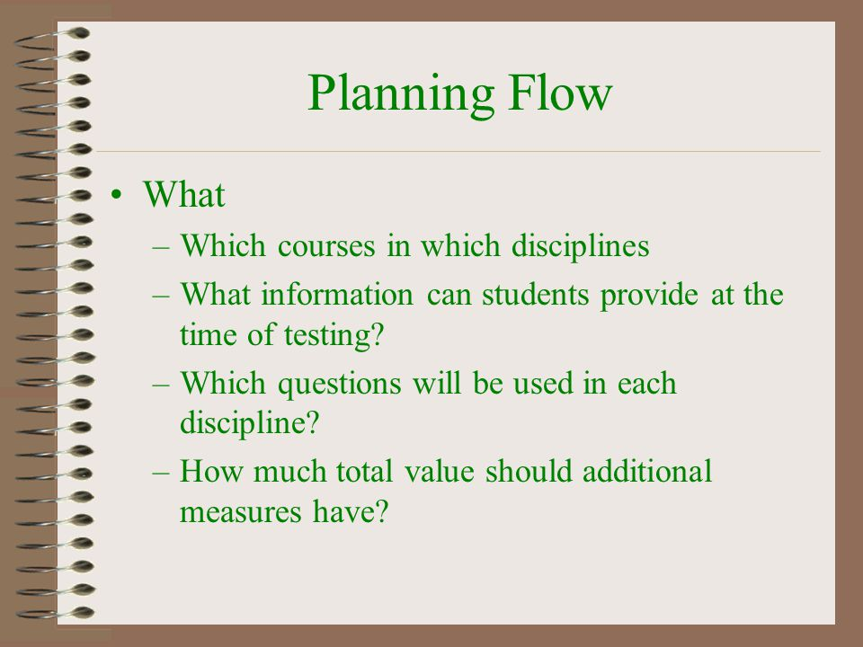 Planning Flow What –Which courses in which disciplines –What information can students provide at the time of testing? –Which questions will be used in