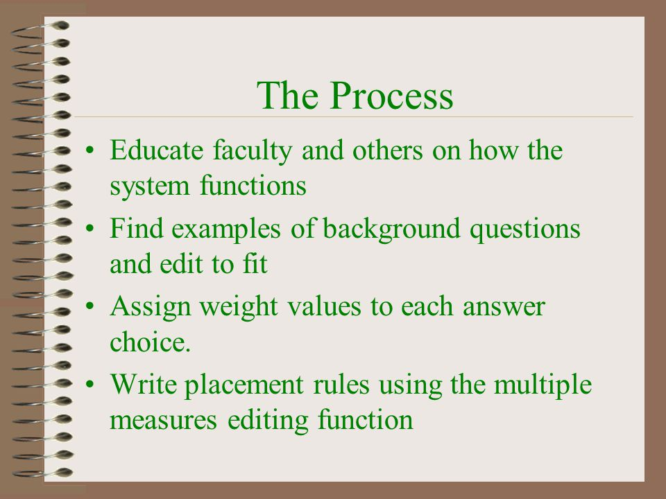 Select Questions Questions must, in some way, relate to student success.