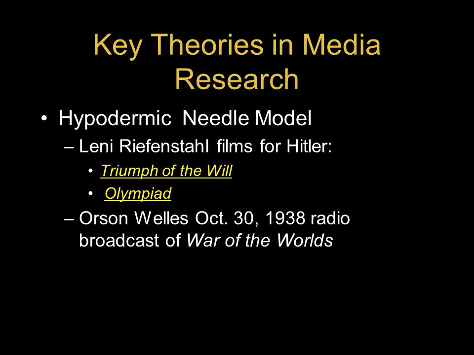 Key Theories in Media Research Hypodermic Needle Model –Leni Riefenstahl films for Hitler: Triumph of the Will Olympiad –Orson Welles Oct.