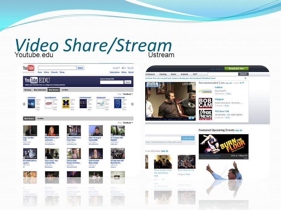 Video Share/Stream Youtube.eduUstream