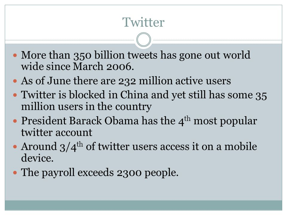 Twitter More than 350 billion tweets has gone out world wide since March 2006.