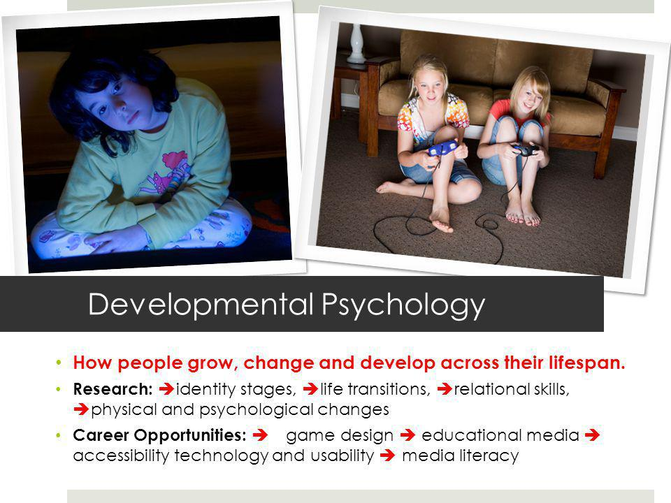 Developmental Psychology How people grow, change and develop across their lifespan.