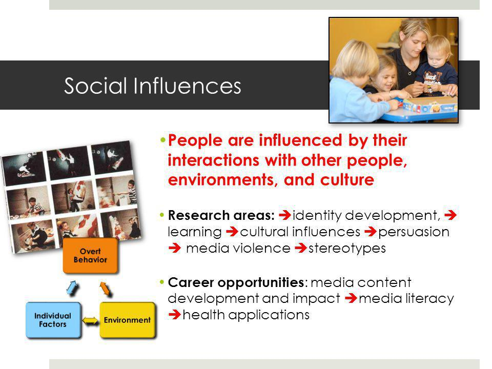 Social Influences People are influenced by their interactions with other people, environments, and culture Research areas:  identity development,  learning  cultural influences  persuasion  media violence  stereotypes Career opportunities : media content development and impact  media literacy  health applications r Overt Behavior Environment Individual Factors