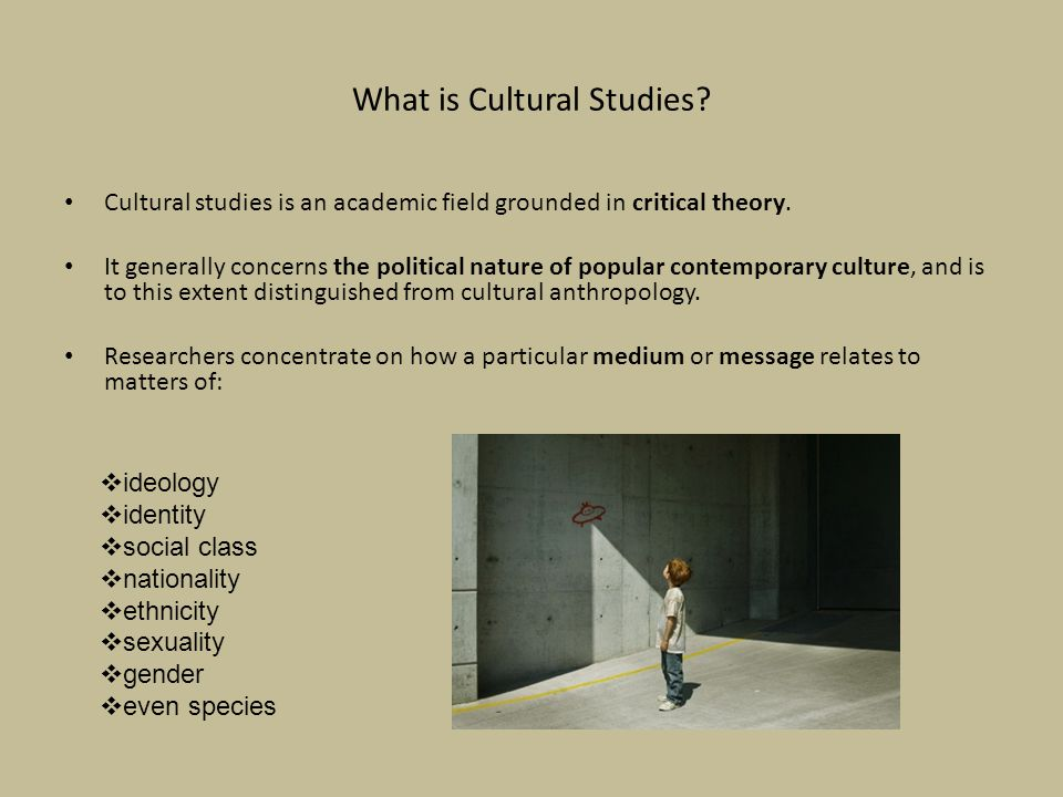 What is Cultural Studies.Cultural studies is an academic field grounded in critical theory.