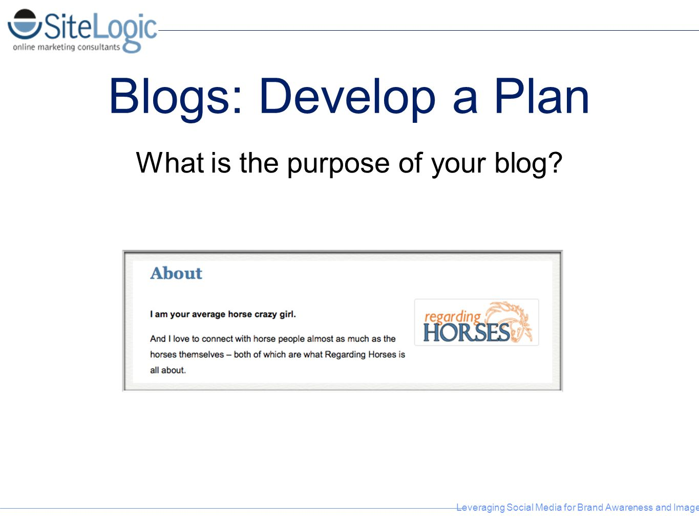 Leveraging Social Media for Brand Awareness and Image Blogs: Develop a Plan What is the purpose of your blog?