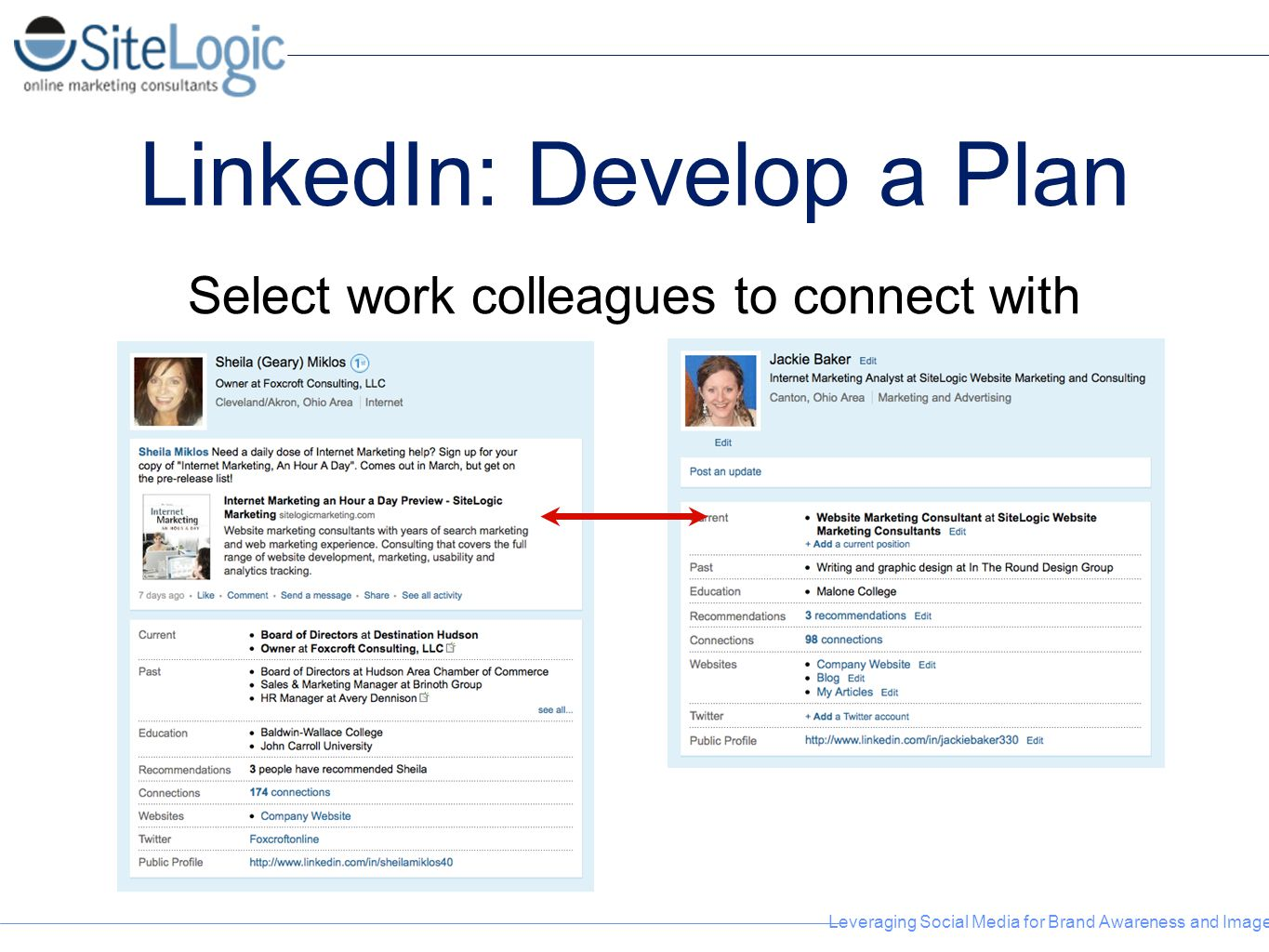 Leveraging Social Media for Brand Awareness and Image LinkedIn: Develop a Plan Select work colleagues to connect with