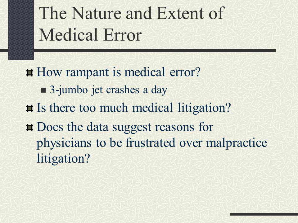 The Nature and Extent of Medical Error How rampant is medical error.