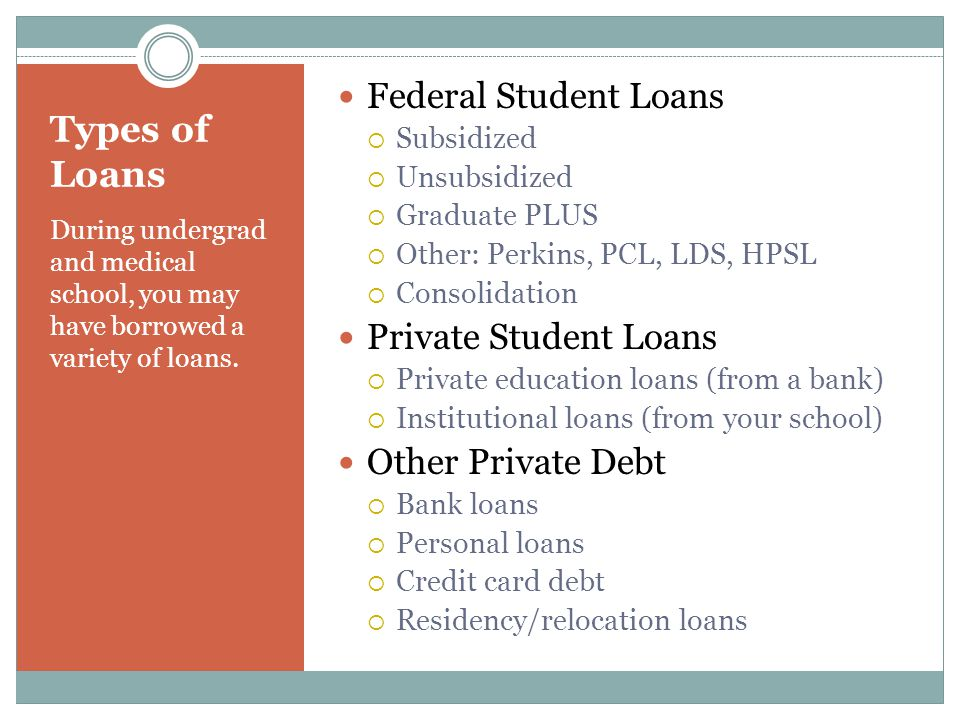 Types of Loans During undergrad and medical school, you may have borrowed a variety of loans.