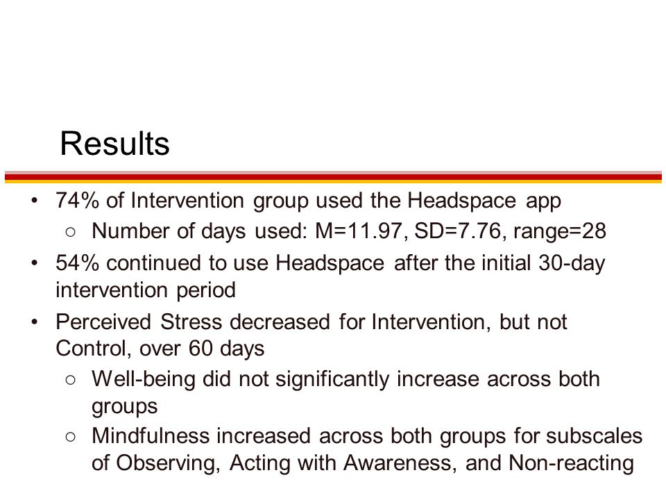 Results 74% of Intervention group used the Headspace app ○Number of days used: M=11.97, SD=7.76, range=28 54% continued to use Headspace after the initial 30-day intervention period Perceived Stress decreased for Intervention, but not Control, over 60 days ○Well-being did not significantly increase across both groups ○Mindfulness increased across both groups for subscales of Observing, Acting with Awareness, and Non-reacting