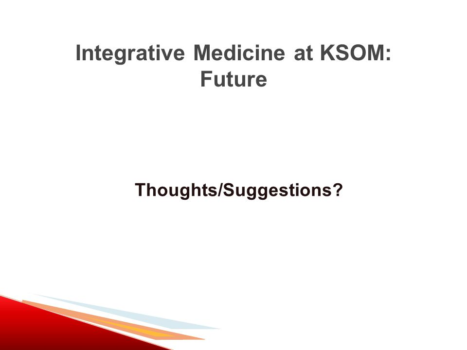 Integrative Medicine at KSOM: Future Thoughts/Suggestions