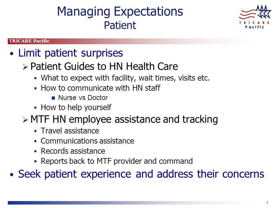 TRICARE Pacific 9 Managing Expectations Patient Limit patient surprises  Patient Guides to HN Health Care  What to expect with facility, wait times, visits etc.