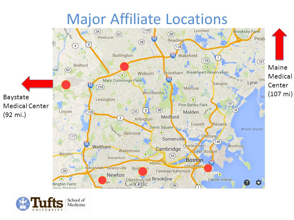 Major Affiliate Locations Baystate Medical Center (92 mi.) Maine Medical Center (107 mi)