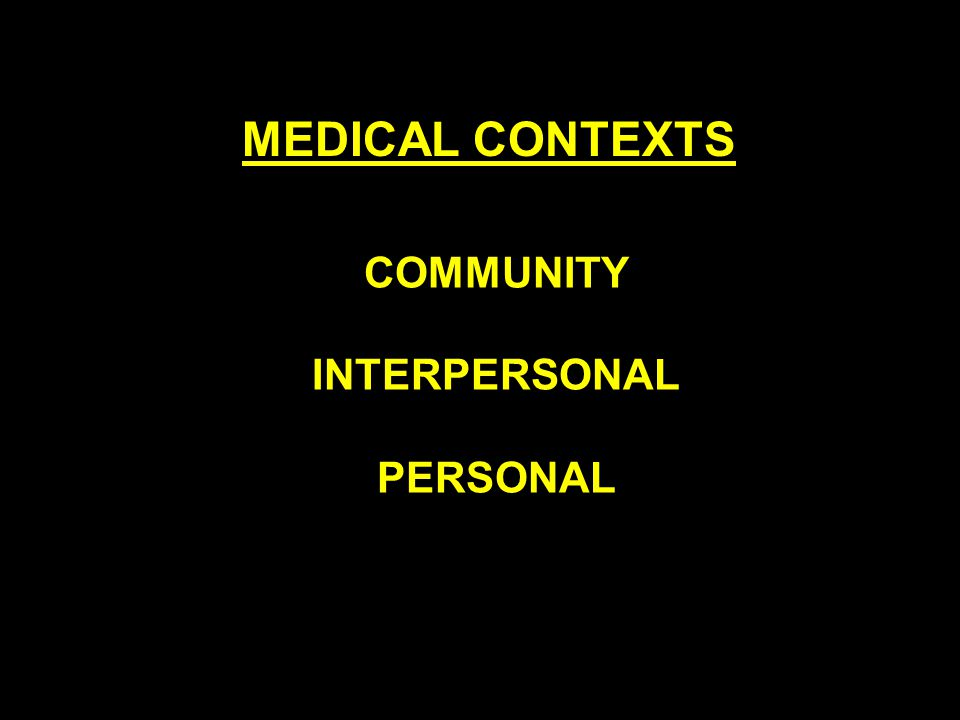 COMMUNITY INTERPERSONAL PERSONAL MEDICAL CONTEXTS