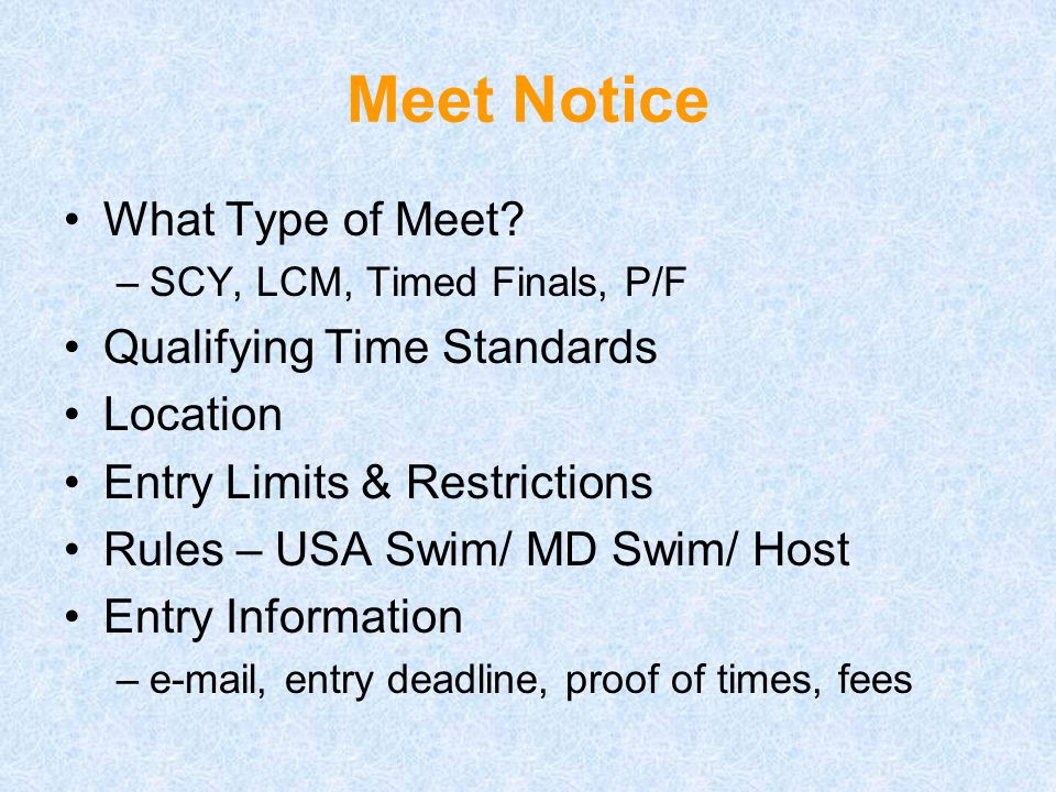 Meet Notice What Type of Meet.