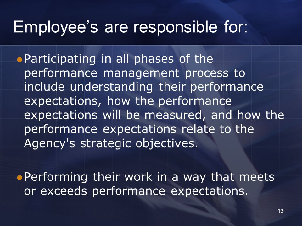 Employee's are responsible for: Participating in all phases of the performance management process to include understanding their performance expectations, how the performance expectations will be measured, and how the performance expectations relate to the Agency s strategic objectives.