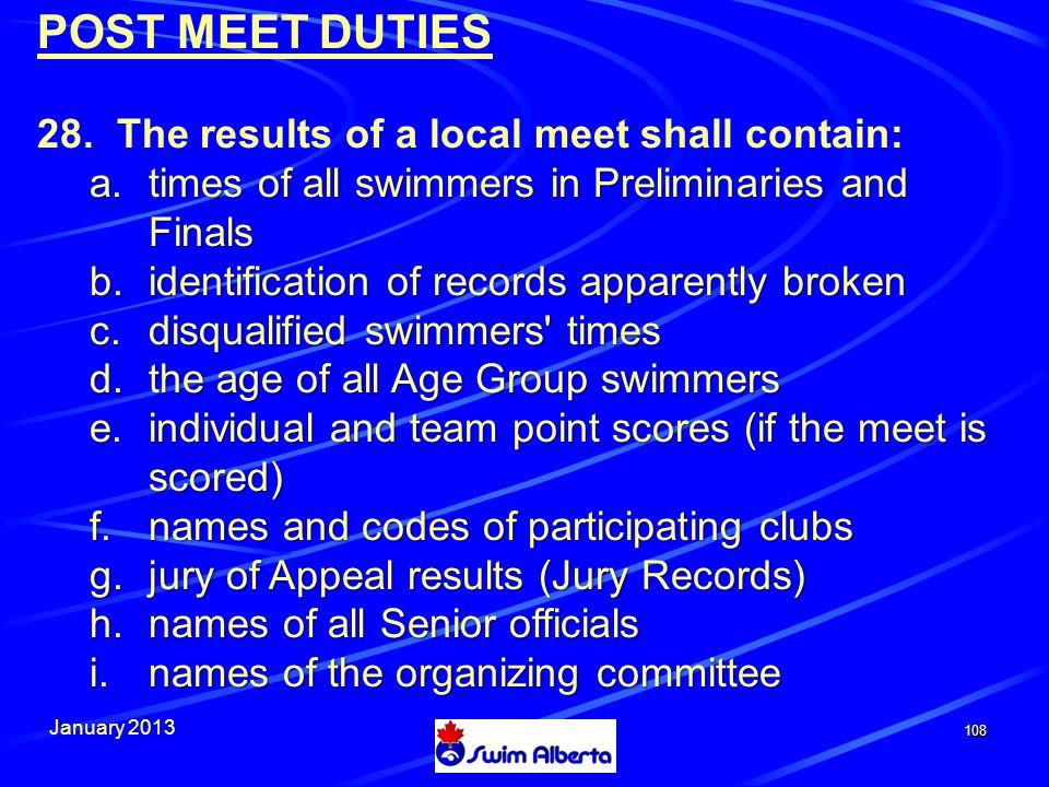 January 2013 108 POST MEET DUTIES 28.
