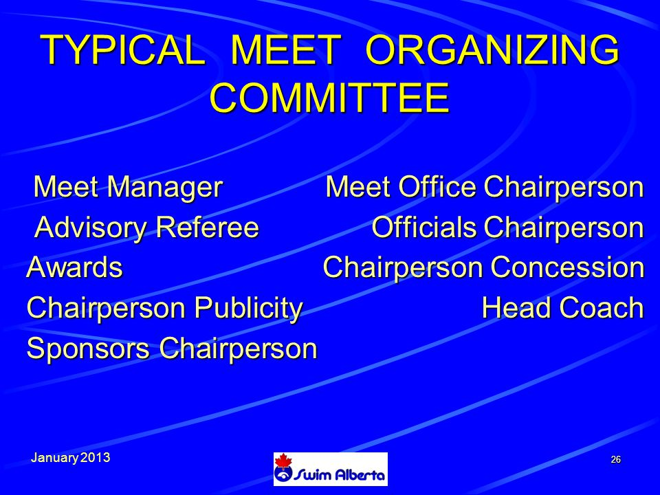 January TYPICAL MEET ORGANIZING COMMITTEE Meet ManagerMeet Office Chairperson Meet ManagerMeet Office Chairperson Advisory Referee Officials Chairperson Advisory Referee Officials Chairperson AwardsChairperson Concession Chairperson Publicity Head Coach Sponsors Chairperson