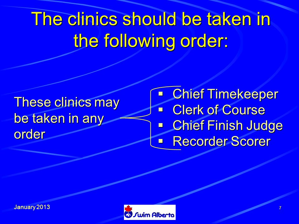 January 2013 The clinics should be taken in the following order:  Meet Manager  Starter 8 These clinic may be taken in any order but should be taken after the officials gains experience